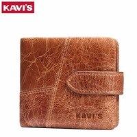 KAVIS Crazy Horse Leather Men Wallets Luxury Designer Small Men Card Holder Wallet Men Genuine Leather