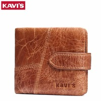 KAVIS Crazy Horse Leather Men Wallets Luxury Designer Small Men Card Holder Wallet Men Genuine Leather