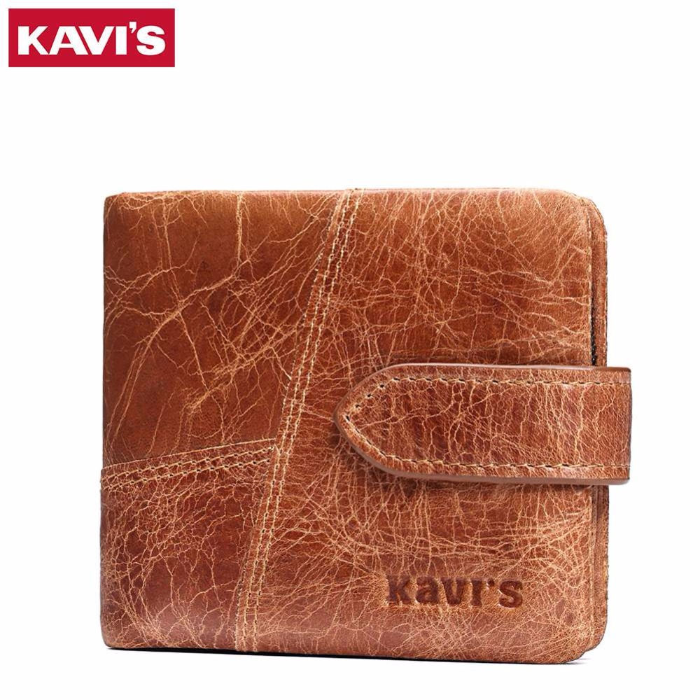 KAVIS Crazy Horse Genuine Leather Wallet Men Luxury Brand Small Mini Card Holder Male Coin Purse Walet and Portomonee PORTFOLIO crazy horse leather billfolds wallet card holder leather card case for men 8056r 1