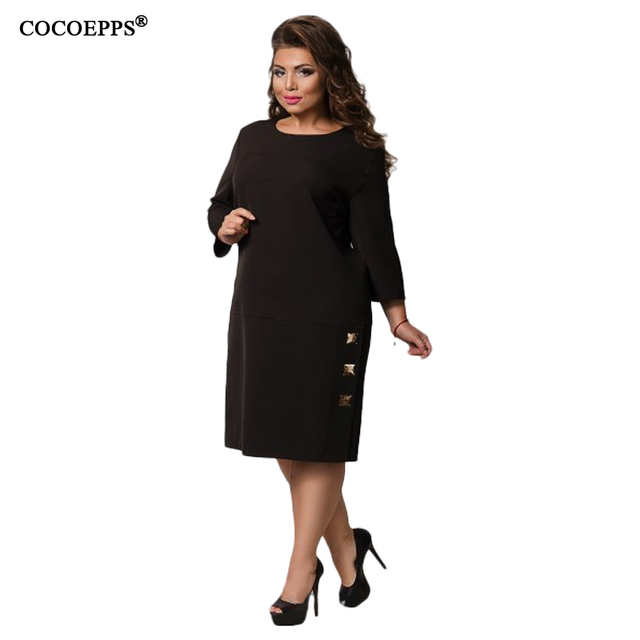 COCOEPPS 5XL 6XL 2018 Winter Big Size Women Plus Size Casual Ladies OL  Office Dress aca8a5e61