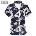 MOGU Men Clothes 2017 Fashion Shirts Short Sleeve Button Down Flower Print Shirt Men Cotton Camisa Social Masculina Size 7XL 6XL