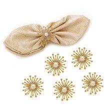 12PCS metal alloy sun flower napkin ring napkin buckle wedding hotel rhinestone napkin ring mat towel ring rhinestone flower layered ring