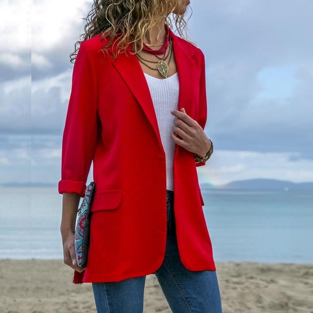 Lossky мода с длинным рукавом черный блейзер Feminino 2018 Осень Костюмы для маленьких Для женщин Повседневное тонкий Короткое пальто Femme сплошные блейзеры куртки