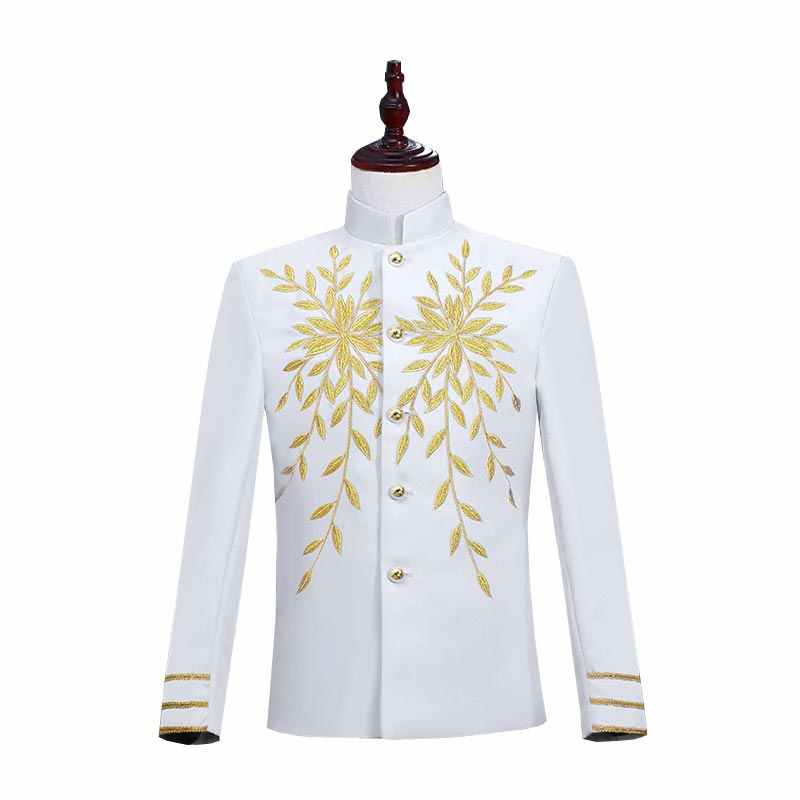 2019 Gaya Inggris Klub Malam Putih Berdiri Kerah Emas Tahap DJ Penyanyi Penyanyi Blazer Hitam Merah Mantel Kostum