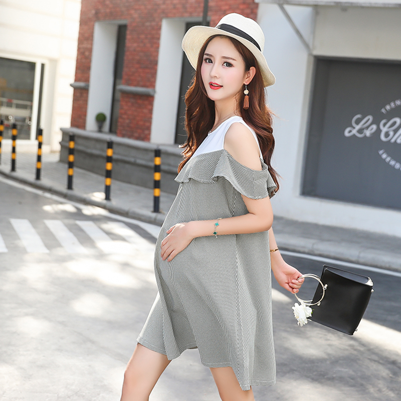 2018 New Maternity Dress for Pregnant Women Elegant Ruffle Maternity Clothes Stitching Pregnancy Clothing Strapless