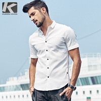 KUEGOU 2017 Summer Mens Casual Shirts Patchwork White Color Brand Clothing Man's Short Sleeve Slim Fit Clothes Male Tops 85526