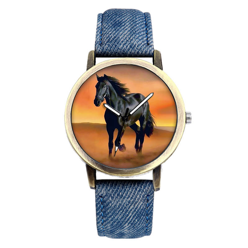 Classic Fashion Horse Quartz Wrist Watch Leather Men Women  Charm Bracelet Watch Relogio Masculino