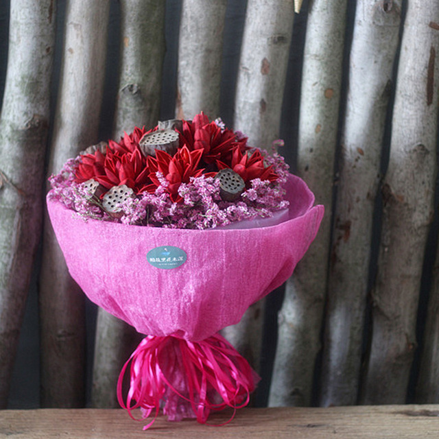 One Bunch Dried Flower Bouquet Lotus Flower And Water Lily Hybrid ...
