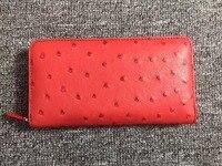 100% genuíno couro de avestruz tamanho longo mulheres carteira purss, fechamento com zíper pele de avestruz saco da senhora embreagem carteira titular do cartão de banco