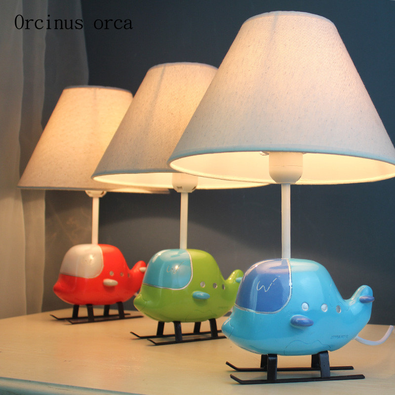 Cartoon creative aircraft small table lamp children's room ...