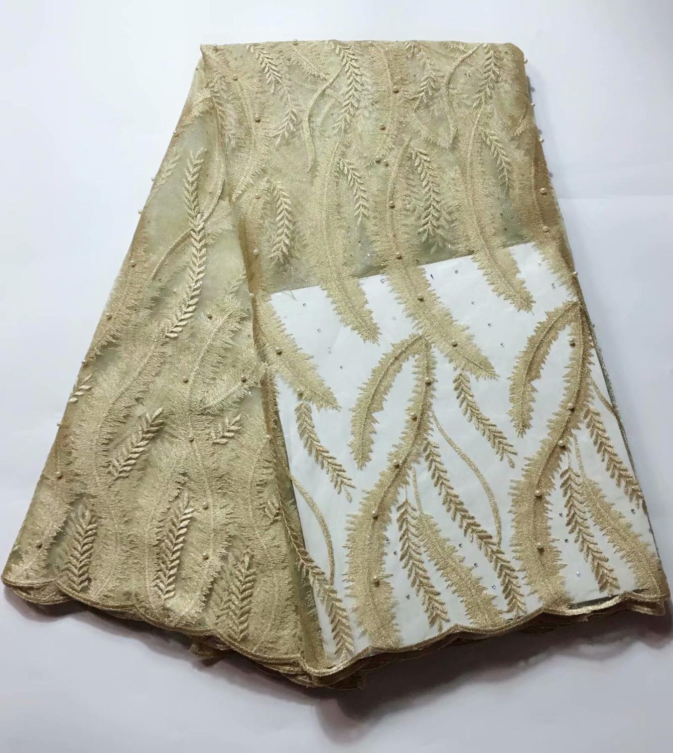 African Lace Solid Pattern 120 Cm Width Fabric For Apparel And Fashion Sold By The 5Yard