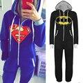 Новый Мужской Пижамы Взрослых Пижамы Onesie Мужская женщины Бэтмен Супермен цельный пижамы установить Sleepsuit Пижамы бесплатная доставка