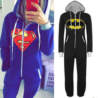 New Unisex Pyjamas Adult Pajamas Onesie Mens Women Batman Superman One Piece Pajamas Set Sleepsuit Sleepwear