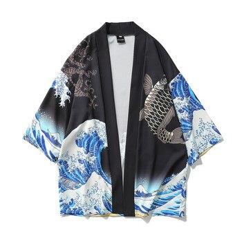 apanese Kimono Cardigan Men Wave and Carp Print Long Kimono Cardigan Men Thin Mens Kimono Cardigan Jacket Coat 2019 allover florals print fringe hem kimono