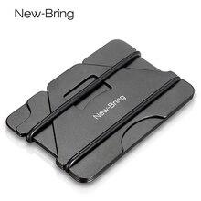 NewBring Mehrere Funktion Metall Kreditkarte Halter Schwarz Tasche Box Business Karten ID Brieftasche Mit RFID Anti dieb Brieftasche männer