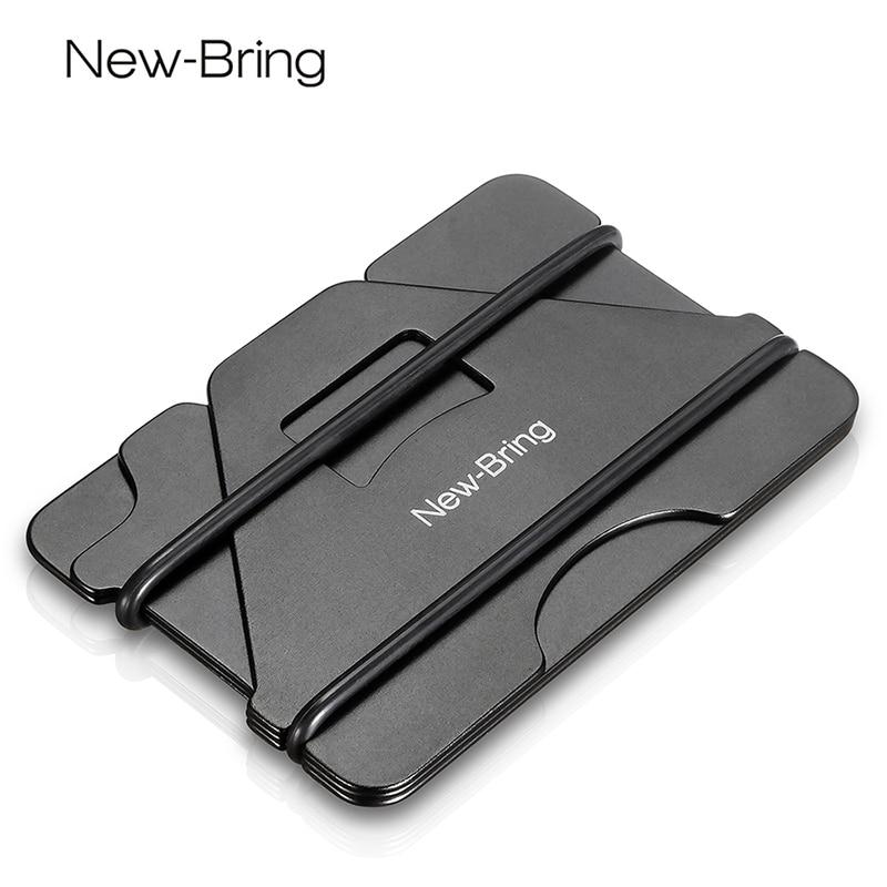 NewBring flera funktioner metall kreditkort innehavare svart ficklampa visitkort ID-plånbok med RFID anti-tjuv plånbok män