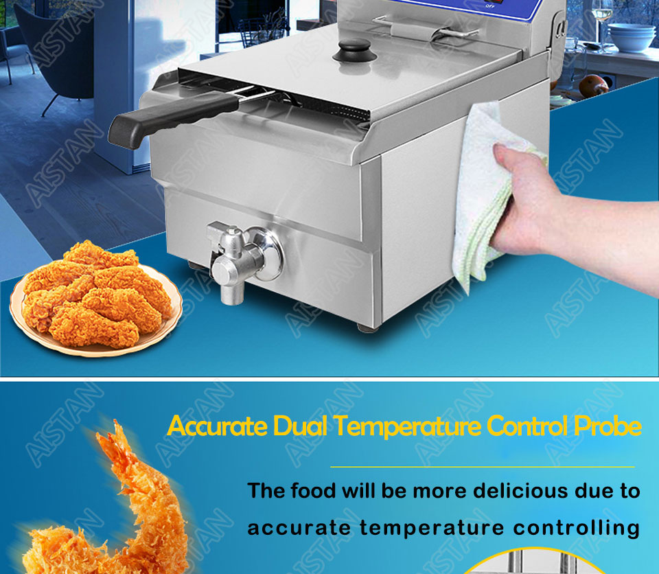 EF101V stainless steel electric deep fryer fried chicken fried potato chips for kitchen appliance 11
