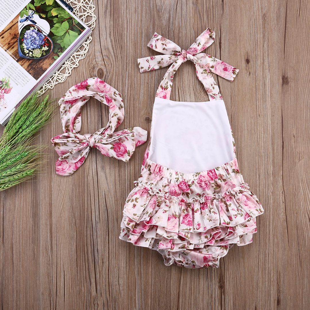 Pink Baby Infant Girls Sleeveless Halter Rompers Backless Floral Print Jumpsuit+headband Outfits 0-18M
