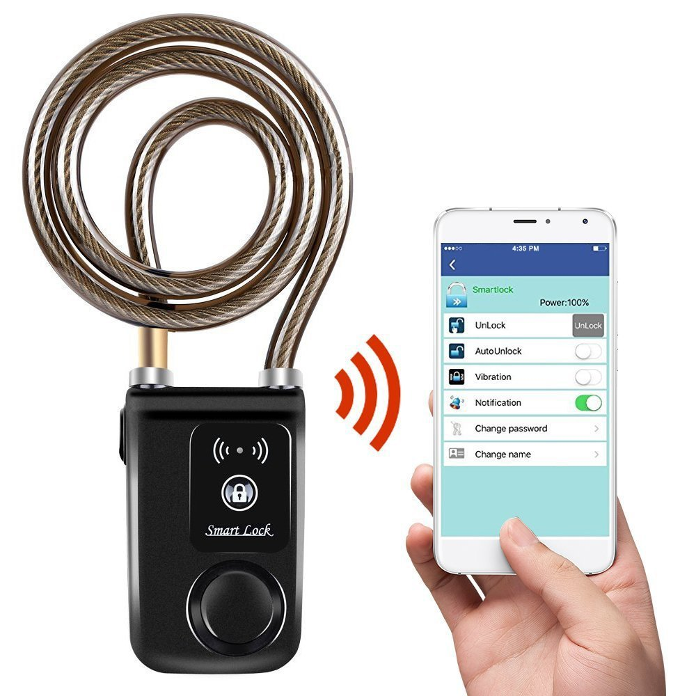 Bluetooth serrure intelligente avec Alarme Vélo serrure intelligente Vélo/Moto Serrure Sans Clé APP Contol