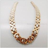 55 cm * 10 mm New Hot moda aço inoxidável 316L de prata / ouro bizantino cadeia Handmade colares para mulheres / homens