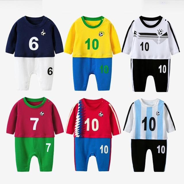 designer fashion 0c2d4 d89e4 Neugeborenen Bebe Wm Fußball Kleidung Anzug Säuglingsspielanzug Jungen  Mädchen Onesie Nette Garcon Kostüm Outfit Lose Sport Overall