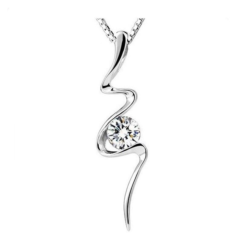 SHUANGR Special Design Delicate Wave Shape Pendant Necklace Sliver Color Crystal Necklaces For Women Christmas Gift