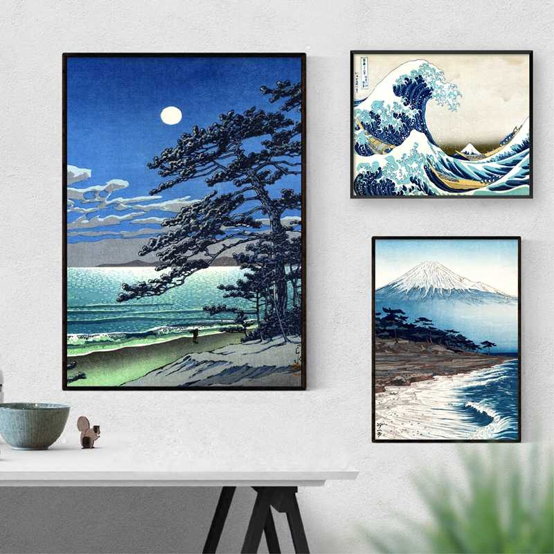Vintage Japanese Landscape Poster Prints Wave Kanagawa Art Canvas Painting Wall Pictures For Living Room Oriental Decor