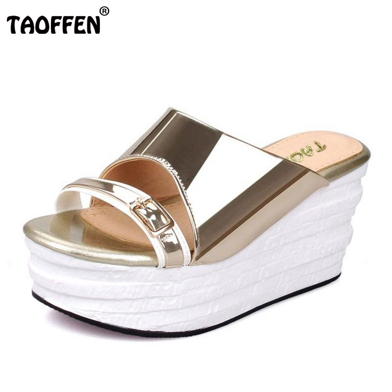 TAOFFEN Sexy Women High Wedges Sandals Metal Buckle Platform Slipper Open Toe Summer Shoes Vacation Female Footwears Size 34-39 plus size 34 44 summer shoes woman platform sandals women rhinestone casual open toe gladiator wedges women zapatos mujer shoes