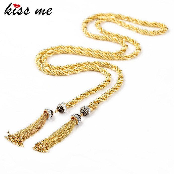 Luxury Charm Antique Gold Color Chain Tassel Long Necklace Fashion Bijoux for Women Christmas Gifts stylish solid color chain tassel alloy necklace for women