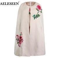 AELESEEN роскошные наборы 2018 осень зима розовый 3D аппликации Бисер Новое Элегантное платье + цветок плащ модное пальто роскошный Теплый костюм