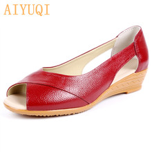 AIYUQI Women's sandals 2019 new summer 100% natural genuine leather sandals female open toe Oxford big size Roman flat shoes new 2018 summer women shoes sandals peep toe flat open toe pu leather roman female casual sandals shoes plus size