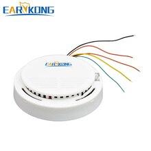 Earykong detector de fumo com fio, sensor de fumaça eletrônico para residência contra assalto gsm/wi fi/outro sistema de alarme