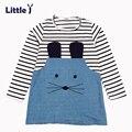 Pouco J Primavera Elegante Meninas Vestido Listrado O Pescoço Do Bebê Tutu Cute Padrão Animal Do Bebê Roupas de Menina Outono Manga Longa Crianças vestido