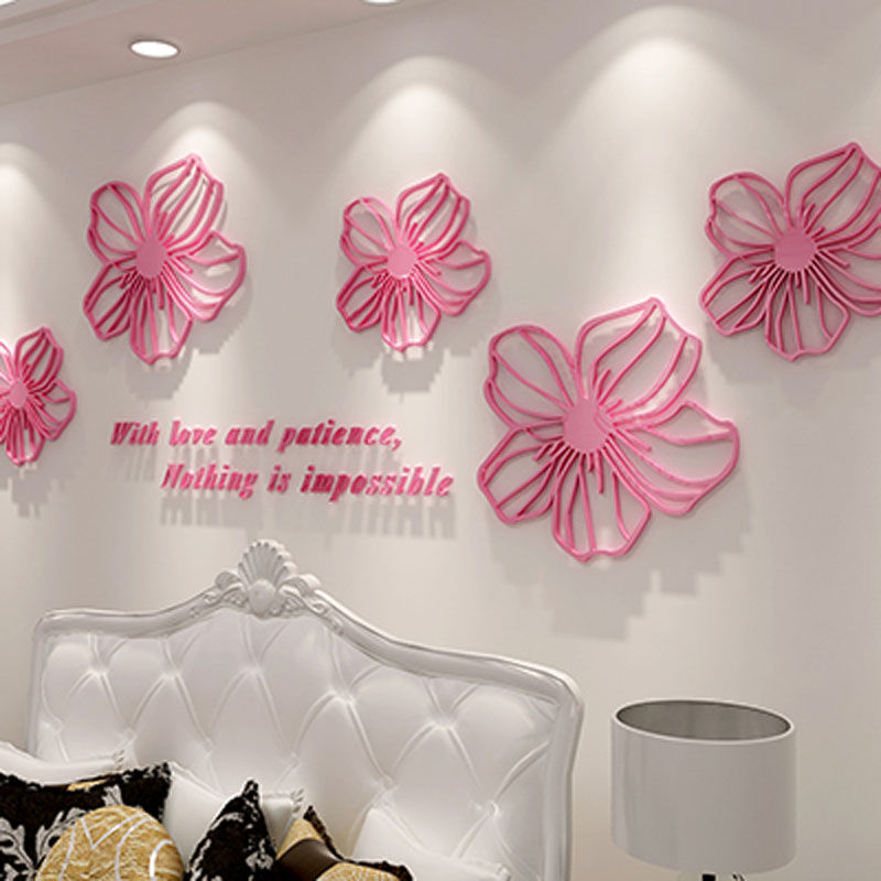 Beautiful Flowers Design 3D Acrylic Wall Stickers Room Cafe Shop Wall Decorations DIY Sticker