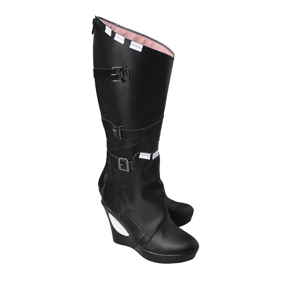 Guardians of the Galaxy Gamora Cosplay Shoes Boot Women's Super High Heel Wedges Leather Knee High Black Boot Custom Made guardians of the galaxy new guard vol 3