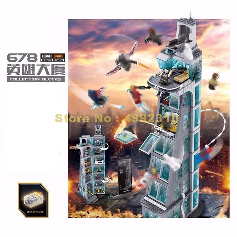 Sh678 1209 piezas versión mejorada super héroe ataque a la torre 76038 bloques de construcción de juguete-in Bloques from Juguetes y pasatiempos    1