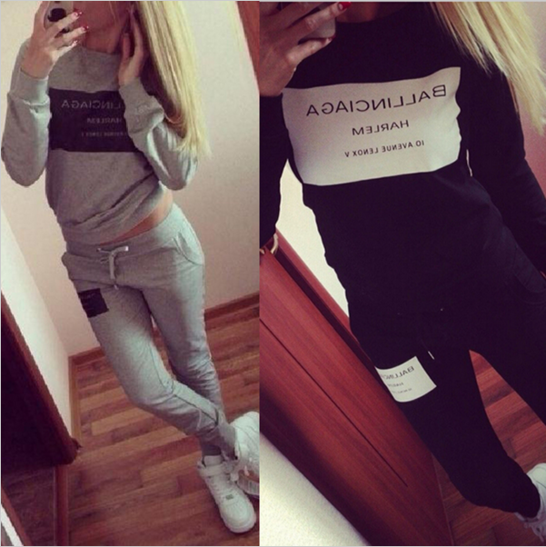 2016 Fashion Women Sportswear Printed Letter Fall Tracksuit for women Long-sleeve Casual Costumes Mujer 2 Piece Set Hoodies