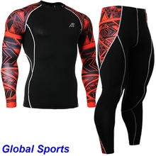 2017 Quick Dry running sets suit for jogging men Round Neck Gym long sleeve Tshirts and pants For Team