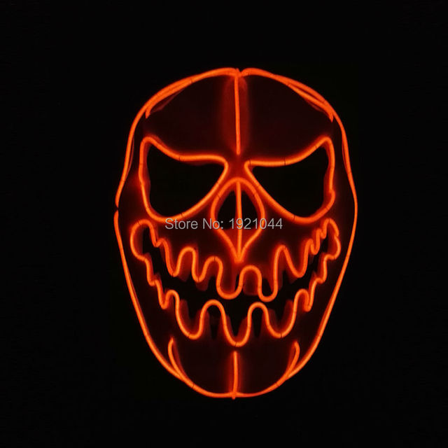 New design Glowing Flashing Halloween Pumpkin faces Mask EL wire Flexible LED Neon light For Scary Party Decoration