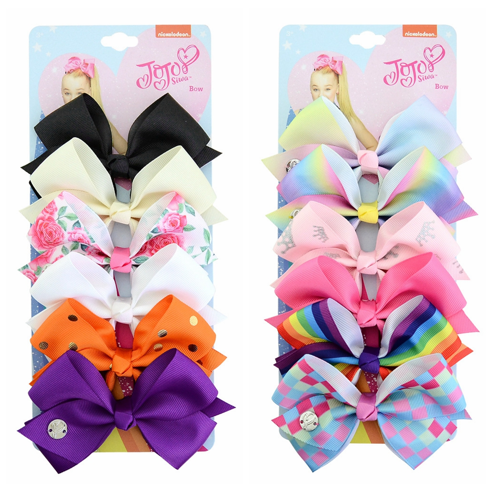 "6pcs//Set 5.5/"" Rainbow Grosgrain Ribbon Hair Bow With Clip For Girls Kids Bowknot"