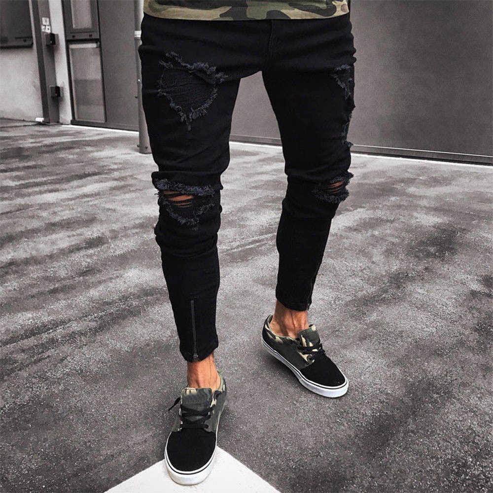 334710aeda7 Skinny Jeans Men Black Jeans Skinny Ripped Destroyed Stretch Slim Fit Hop  Hop Pants With Holes