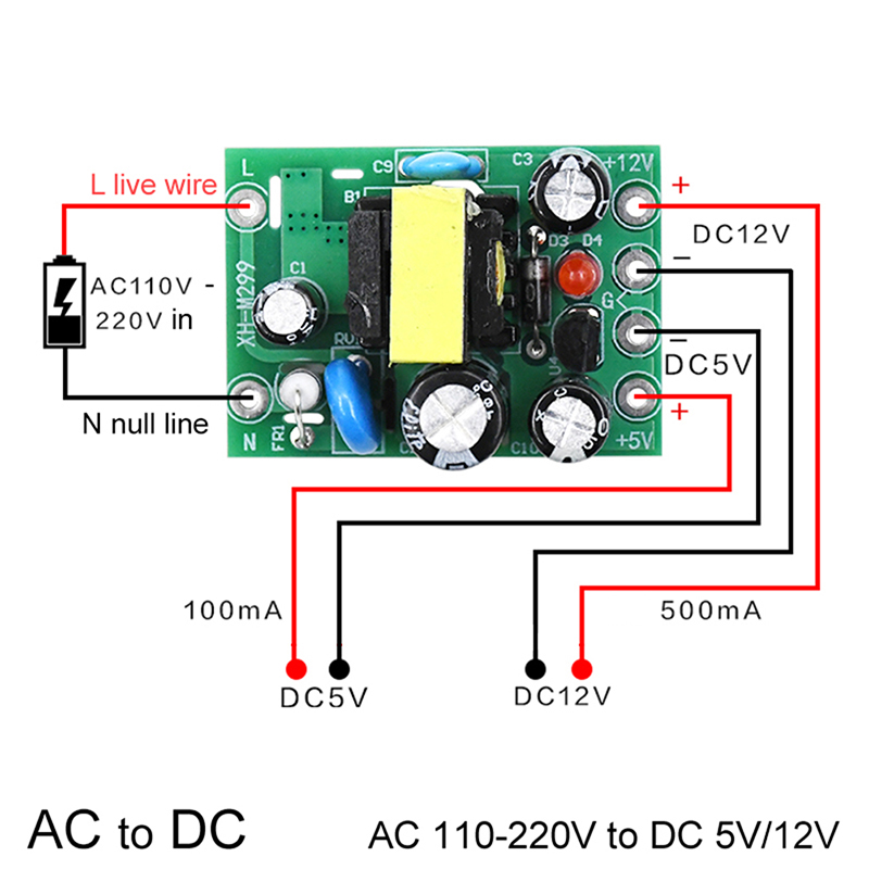Mini AC-DC Converter AC 110V 220V To DC 12V 0.2A+5V Module Board