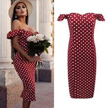 Off-the-shoulder Polka Dot Printed Package Hip Dress Women Holiday Dress off shoulder allover printed shirred dress