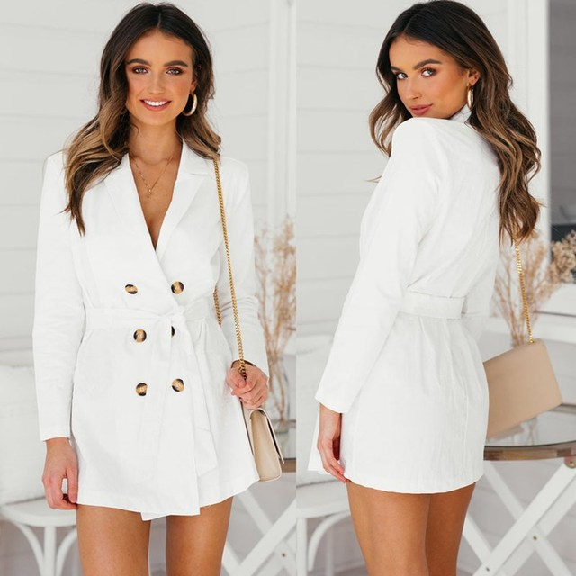 Women Elegant Ol Long Blazer Female White Sashes Slim Suit Jacket Fashion Work Blazer double breasted suit Coats Tops