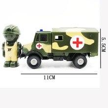 все цены на 1:52 Zinc Alloy Ambulance Model Truck Military Car Toy Metal Castings Strong Pull Back Force Vehicle Free Gift Doll онлайн