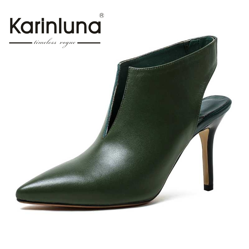 ФОТО KARINLUNA Slingbacks Women Pumps Pointed Toe Thin High Heel Less Platform Party Wedding Shoes 2017 New Woman Footwear