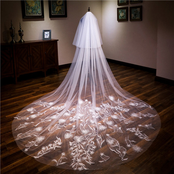 New Super Long 3.5 Meters Long Widened Trailing Big Veil Double Belt Hair Comb Can Cover The Bride Veil Wedding Veils Long Manti