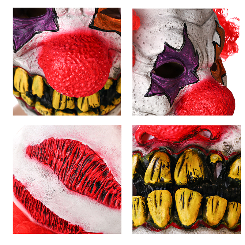 H & D Red Nose Clown Mask Circus Scary Killer Halloween Horror Latex - Barang-barang untuk cuti dan pihak - Foto 2