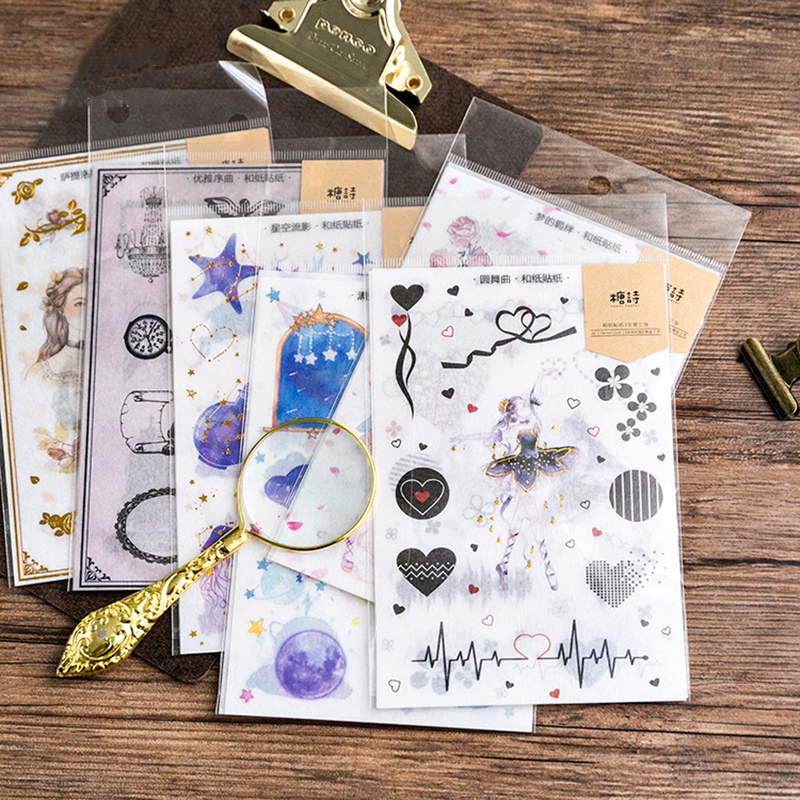 3sheets/Pack Vintage Gold Satyrus Girl Sticker Flake Scrapbooking Creative Diy Journal Decorative Adhesive Flake Cute Stationery
