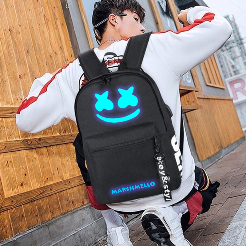 Image 4 - DJ Marshmallow рюкзак школьные рюкзаки для подростков мальчиков девочек школьные сумки USB многофункциональная дорожная светящаяся сумка для ноутбука-in Рюкзаки from Багаж и сумки